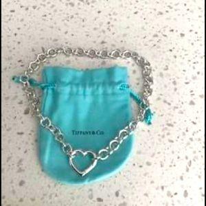 "Tiffany & co 16"" silver heart necklace"